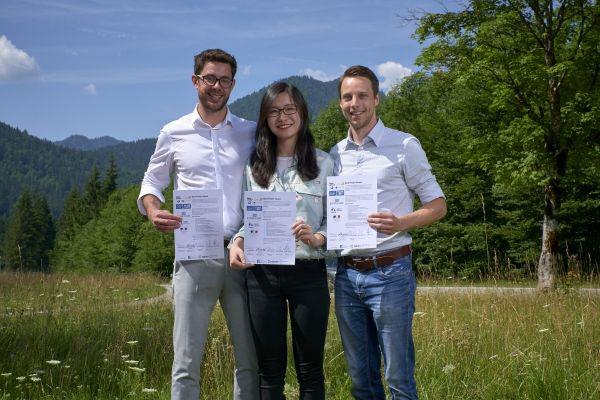 Winners of the research poster award: Matthias Zöhrer, Graz University of Technology; Dantong Ge, Beijing Institute of Technology; Felix Batsch, Coventry University.